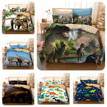 2019 New Fashion Creative Style Home Textile 3D Printing Dinosaur Pattern Bedding Set  3 Pcs King Size