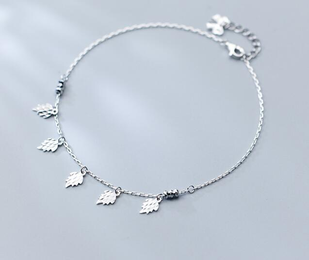 Cute Summer 100% Real. 925 Sterling Silver Fine Jewelry Branch Leaf Anklet Bracelet White color GTLS578