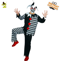 Adult Men Deluxe Plus Mask Killer Clown Costumes Halloween Party Fancy Dress Mens Circus Horror Costumes