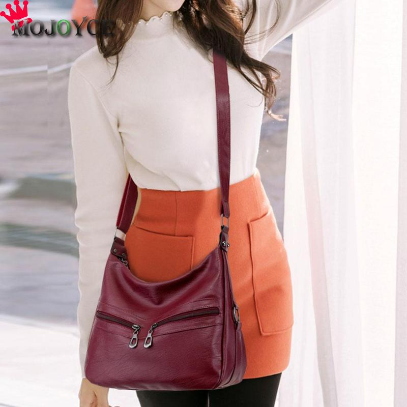MOJOYCE Vintage Female Bag Women Hobos Handbags Zipper Soft PU Leather Shoulder Crossbody Bag Office Ladies Bag Solid Color Tote 4