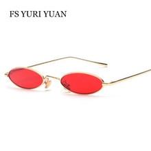 837f50c36ee1f Designer de marca Tamanho Pequeno Oval óculos de Sol Das Mulheres Dos  Homens de Metal Frio quadro Óculos de Sol Óculos UV400 Ver.