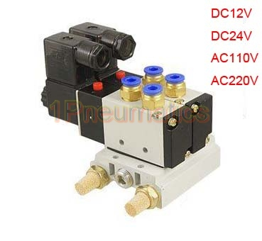 Free Shipping 10Sets/Lot 4V210-08 2 Position 5 Way Pneumatic Solenoid Valve w Muffler Base 2 Station dc 12v single head 2 position 5 way 5 pneumatic solenoid valve w base aywvu