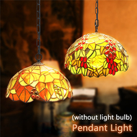 Smuxi Baroque Style Stained Glass Suspended Luminaire E27 Chain Pendant Lights Lighting Lamps For Home Parlor