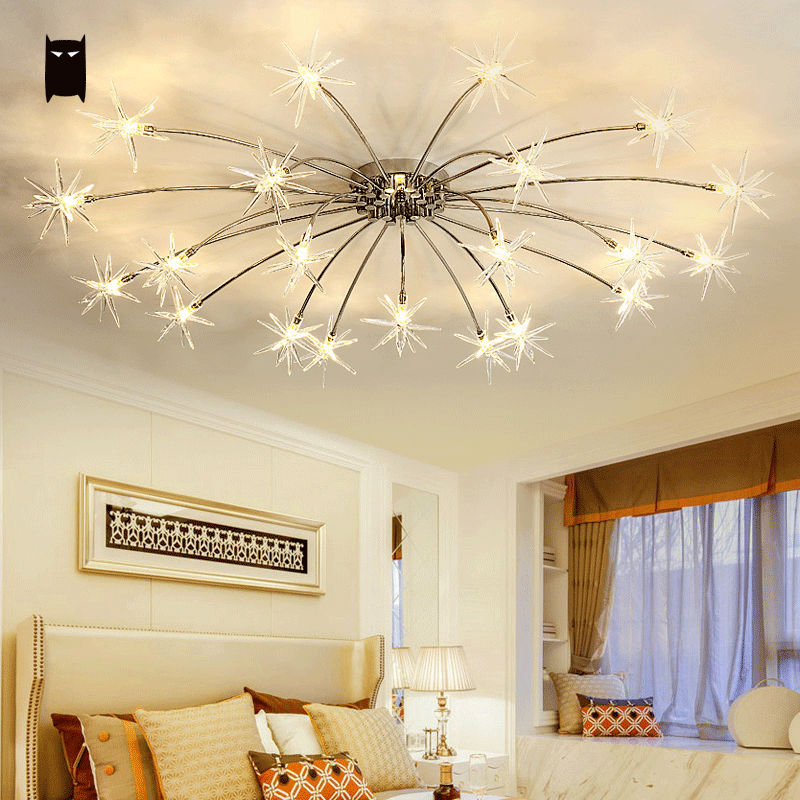 Iron Glass Flower Snowflake Ceiling Light Fixture Modern
