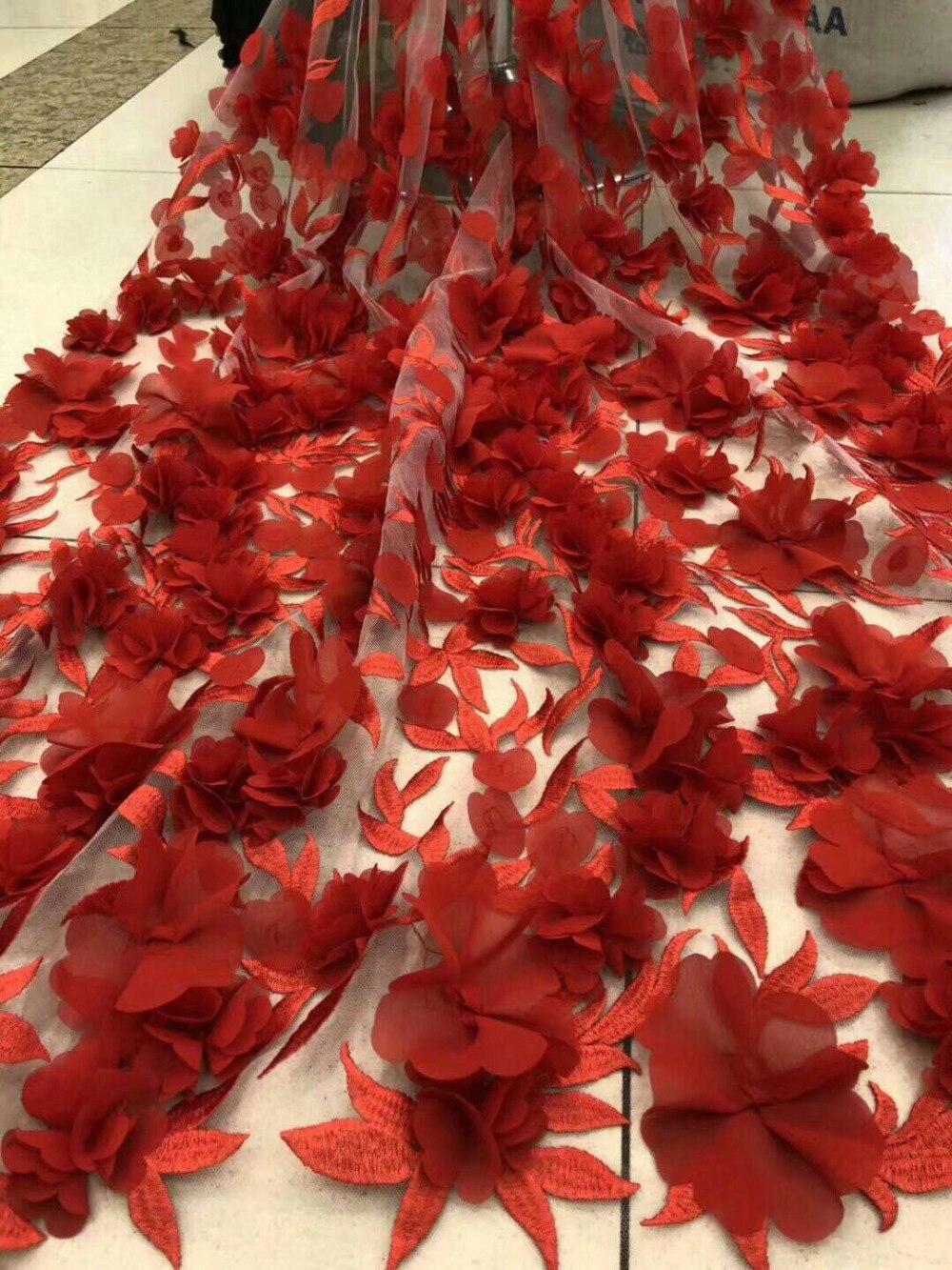 جديد جودة عالية كبير الأحمر اليدوى 3d الكبير زهرة الفرنسية صافي أقمشة الدانتيل زين شبكة تول الدانتيل الفرنسي الأفريقية للنساء الزفاف-في دانتيل من المنزل والحديقة على  مجموعة 1