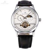 KS Luxury Brand Self Wind Silver Relogio Black Leather Band Analog Male Casual Clock Wrist Men