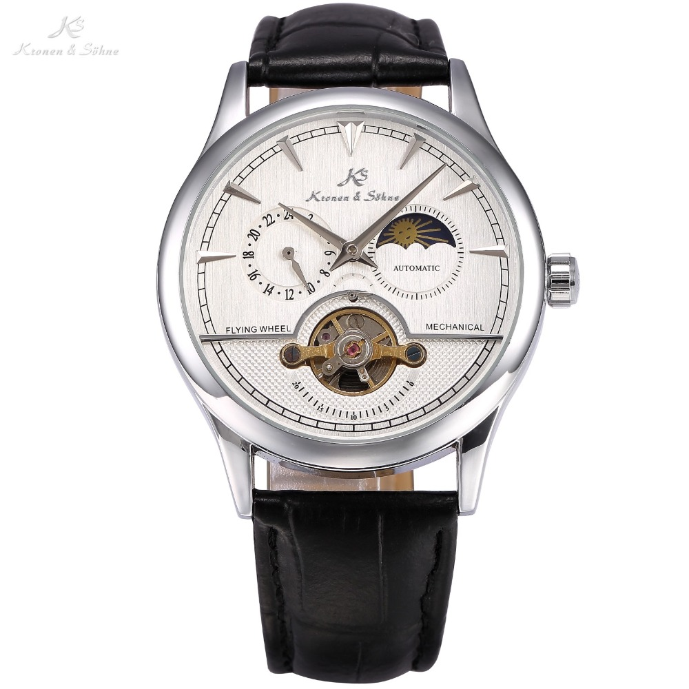 KS Luxury Brand Self Wind Silver Relogio Black Leather Band Analog Male Casual Clock Wrist Men Automatic Mechanical Watch /KS227 men luxury brand casual gold full steel band skeleton automatic self wind mechanical hand wind goden relogio for man wrist watch