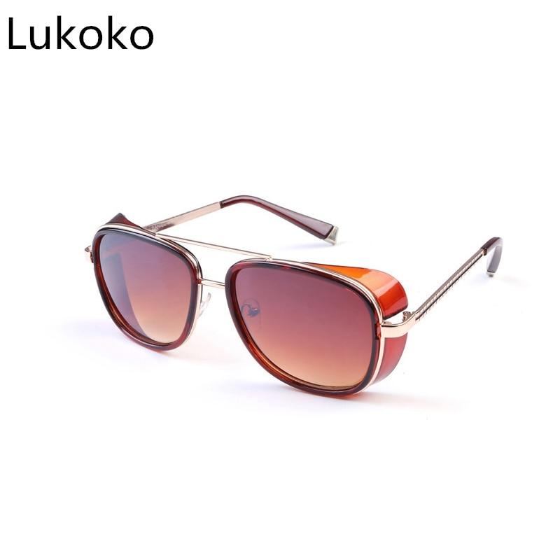 Tony Stark Iron Man Sunglasses Men Luxury Brand Eyewear Mirror Punk Sun Glasses Vintage Male Sunglasses Steampunk Oculos