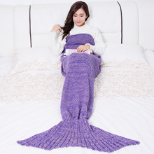 купить Wool Carpet Mermaid Fleece Blanket Adult Knitting Blanket Mermaid Tail Blankets For Beds по цене 997.16 рублей