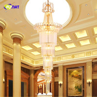 FUMAT Gold Round Long Stairs Crystal K9 Stainess Steel LED Pendant Lighting Generous Luxury Lustres Lamp For Dining Room Light
