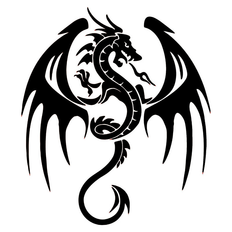 14.3*16.5CM Ancient Animal Dragon Stylish Car Accessories Vinyl Car Stickers And Decals Black/Silver S1-2209 стоимость