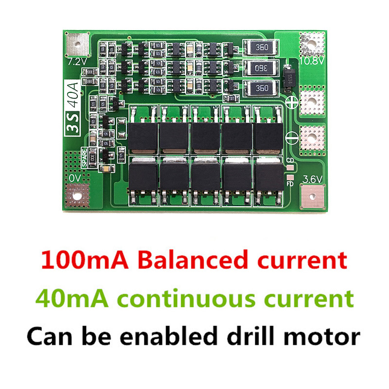 3S 40A Iron Lithium Battery Charger Protection Board with Balance PCB BMS For Drill Motor 9.6V 10.8V Lipo Cell Module
