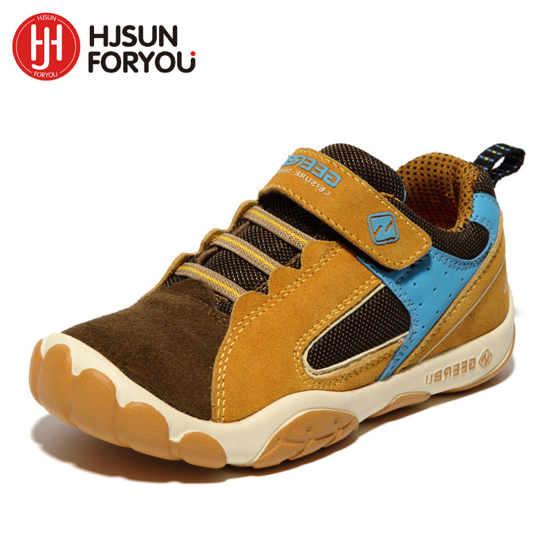 2019 Ekte Lær Barn Sko Størrelse 28-40 Vanntette Kids Sneakers Breathable Girls and Boys Sports Shoes Outdoor Trainers