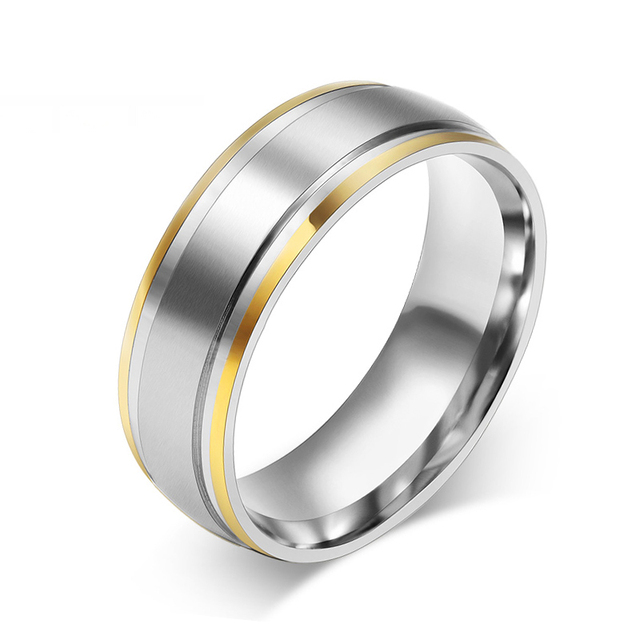 Vnox Two Tone Silver IP Simple Ring For Men Stainless Steel Finger Ring Man  Wedding Band