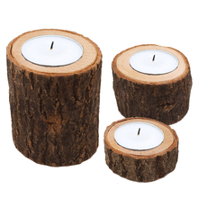Wooden Pillar Design Tealight Candle Holder Stand Candlestick Or Succulent Flowerpot For Rustic Wedd