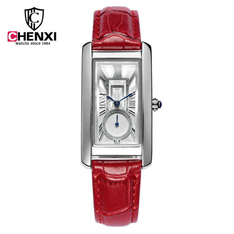 2018 CHENXI Watch Women Elegant Rectangular Dial Leather Band Business lady quartz Watches Relogios Masculinos quartz watch with small diamond dots indicate leather watch band hearts pattern dial for women