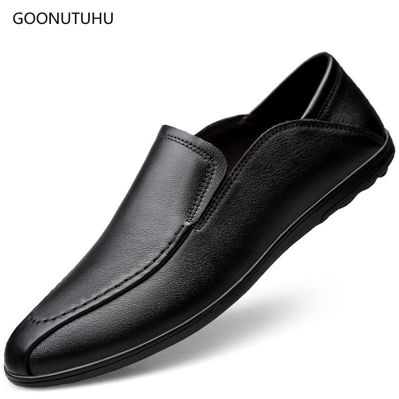 2019 new style fashion men 39 s shoes casual genuine leather cow loafers slip on shoe man classic brown black driving shoes for men in Men 39 s Casual Shoes from Shoes