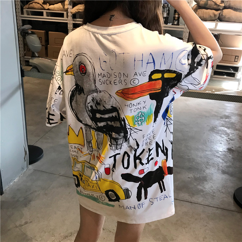 Harajuku Vintage Punk Style T Shirt Women Funny Cartoon Print Short Sleeve T-shirts Fashion Casual Loose Girls Summer White Tees
