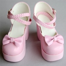 wamami 55 Pink 1 3 SD BJD Dollfie High Heels Bow Synthetic Leather Shoes