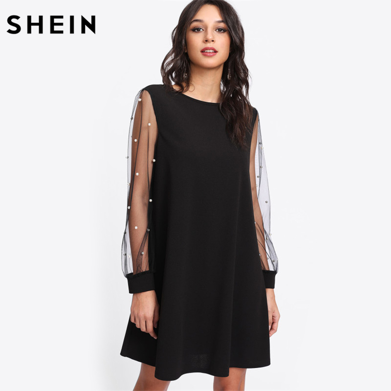 SHEIN Elegant Womens Dresses Pearl Beading Mesh Sleeve Tunic Dress Autumn Black Boat Neck Long Sleeve