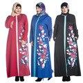 Новый Стиль Мода Печатные Цветы Плюс Размер Мусульманских Женщин Абая О-Образным Вырезом Молнии С Длинным Рукавом Платье Традиционный Ислам Женская Одежда