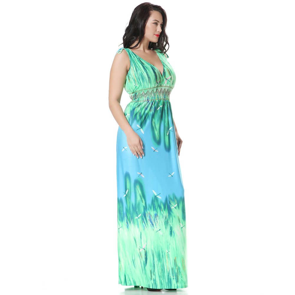 Arthsdite Women Green Large Maxi Dress XL 7XL Plus Size Long Casual ...