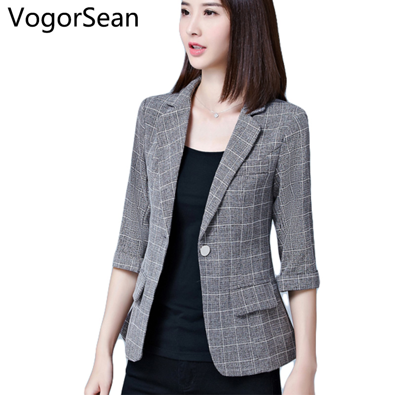 VogorSean Womens Formal Blazers Jacket Female Gray Spring Autumn Suits Office Lady Half Sleeve Blazer For Work New Women