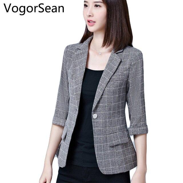 7df1dbeb69bcb VogorSean mujer Formal Blazers chaqueta mujer primavera otoño trajes  Oficina señora media manga chaquetas para trabajo