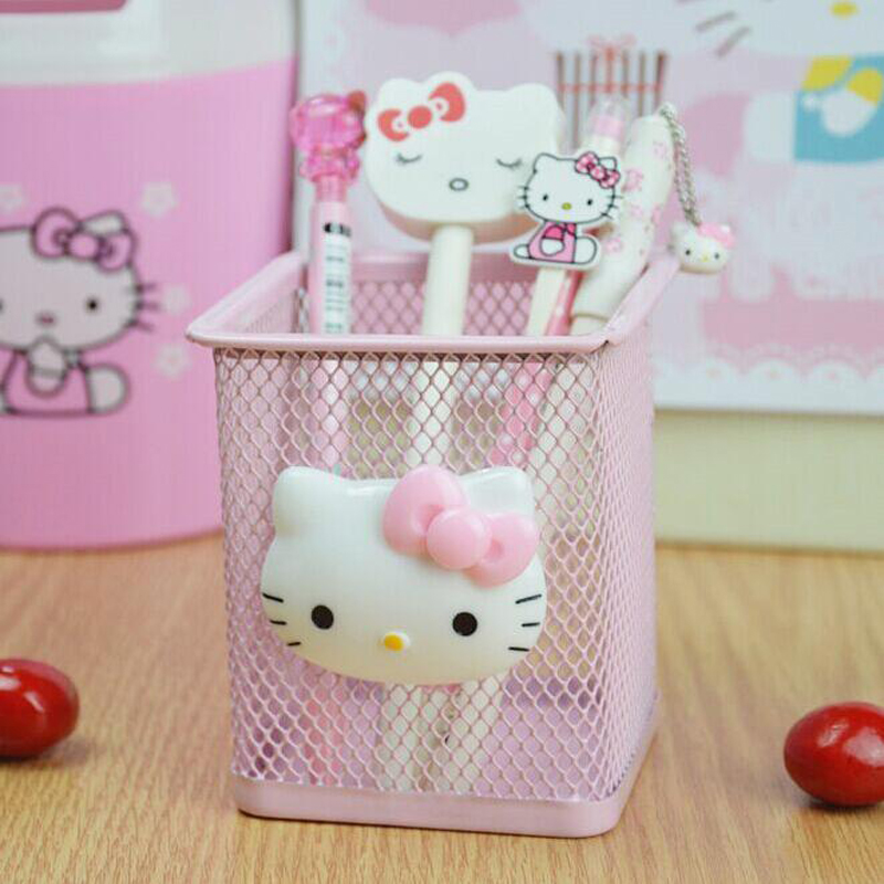 Novel Hot DIY  Kitty Square Hollow Metal Pen Holder Office School Supplies Desk Accessories Organizer Child Manual Gift