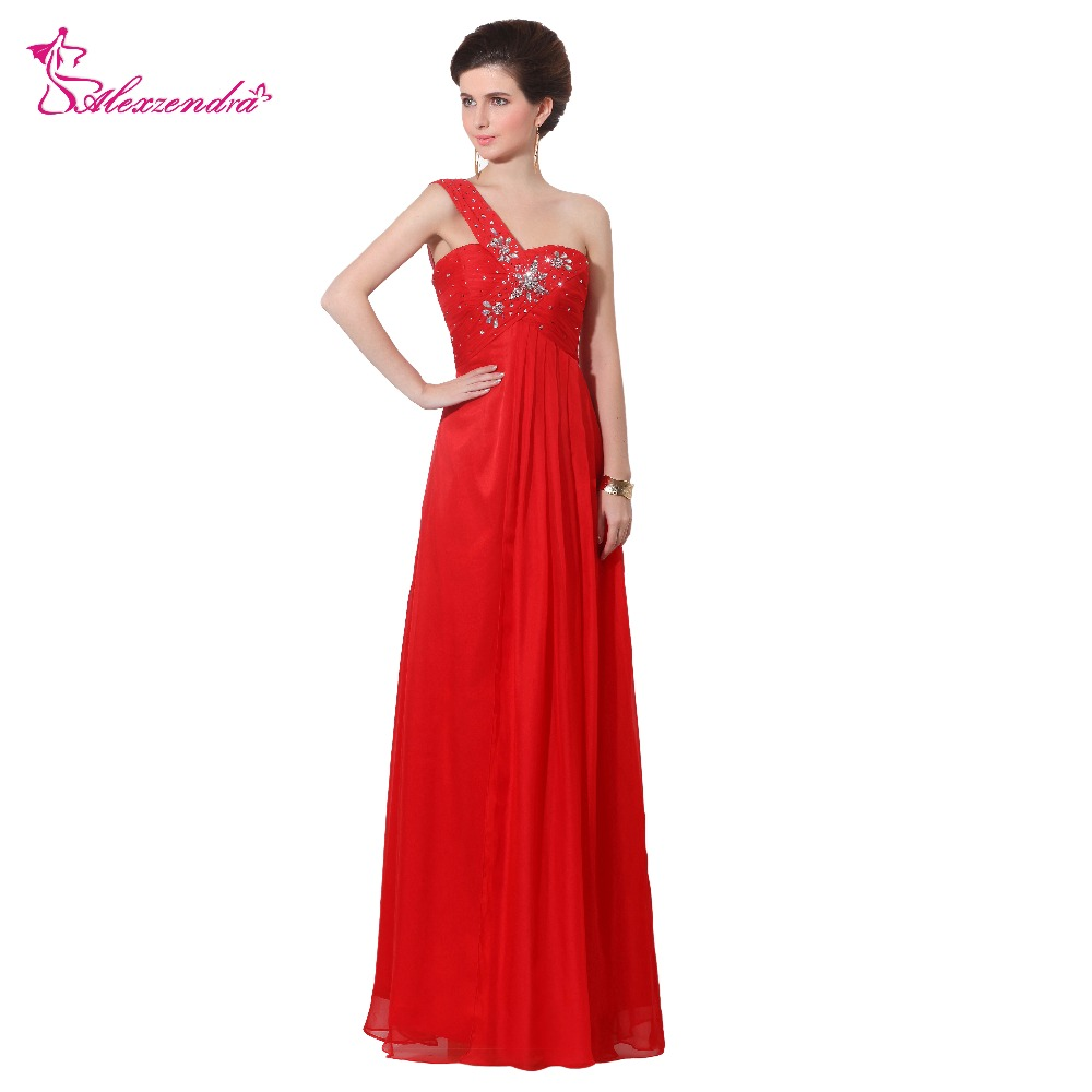 Alexzendra Red Sweetheart One Shoulder Long   Prom     Dresses   Beaded A Line Long Party   Dress   Evening   Dresses   Plus Size