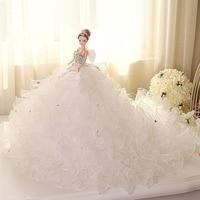 Doll + Wedding Dress / Luxury White Lace Bride Wedding Doll Multi layer Big Trailing Evening Gown For Kurhn Barbie Doll Gift