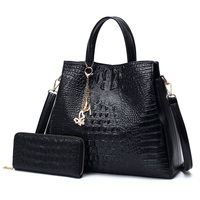 2018 Limit Discount Women Genuine Leather Shoulder Bag Purse Double Alligator Causal Totes Female Large Capacity