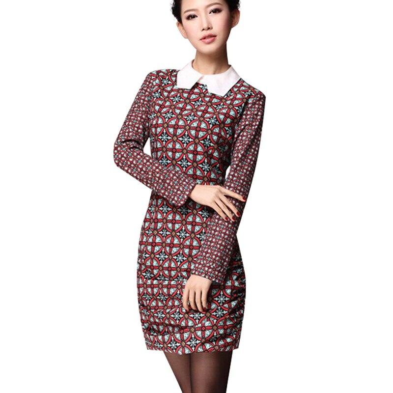 2016 New Designer Printed Dress High Quality Fashion Elegant Brief Long Sleeve Dress wf-5047