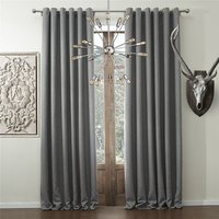 Windows Solid Faux Linen Classic Grommet Top Room Darkenning Curtains Draperies With Multi Size Custom Curtain