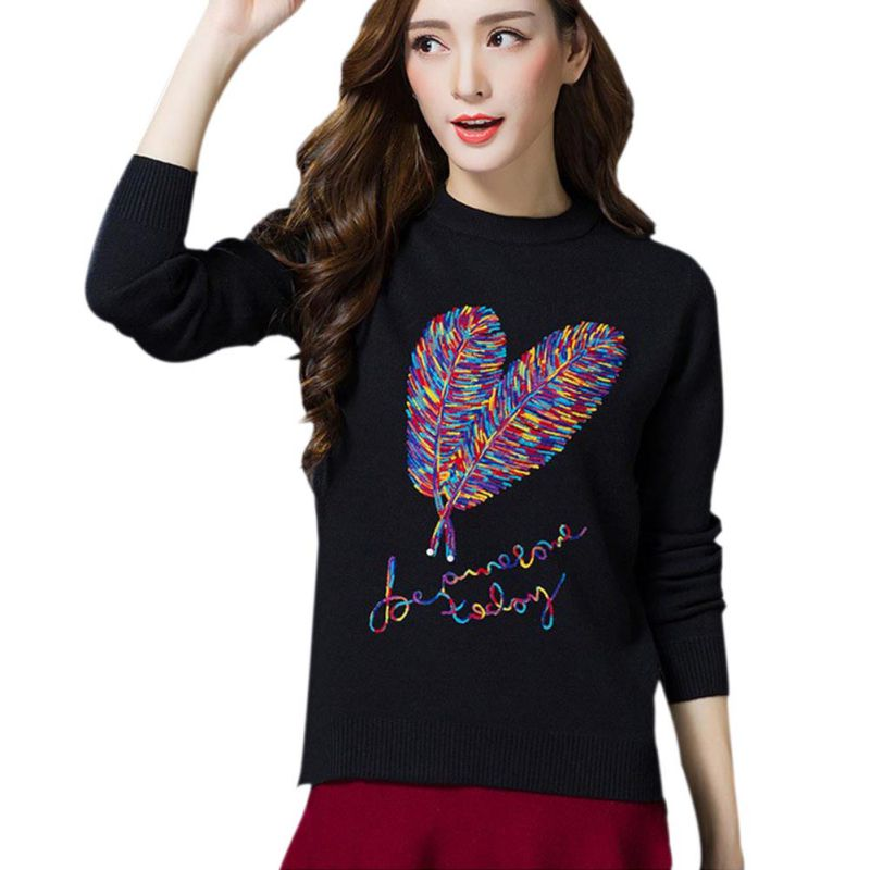 New 2018 Autumn Winter Sweaters for Female Fashion Printed Women Long Sleeve Pullovers Sweaters Casual Warm Knitted Sweaters