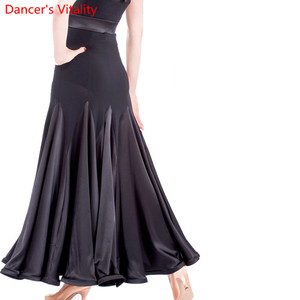 Image 1 - Ballroom dance costume sexy  spandex ballroom dance long skirt  for women ballroom dance competition skirt 2kinds of colors