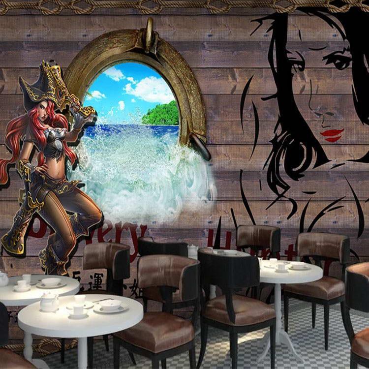 Custom Size Photo 3D Stereo Graffiti Wood Pirate Hero