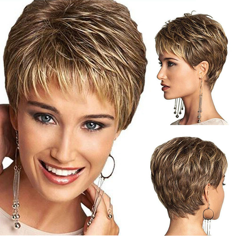 Europe America Women Short Synthetic Hair Wig With Stable Hair Caps Hairnet Haircut Curly Color Gradient Wigs Cosplay Party