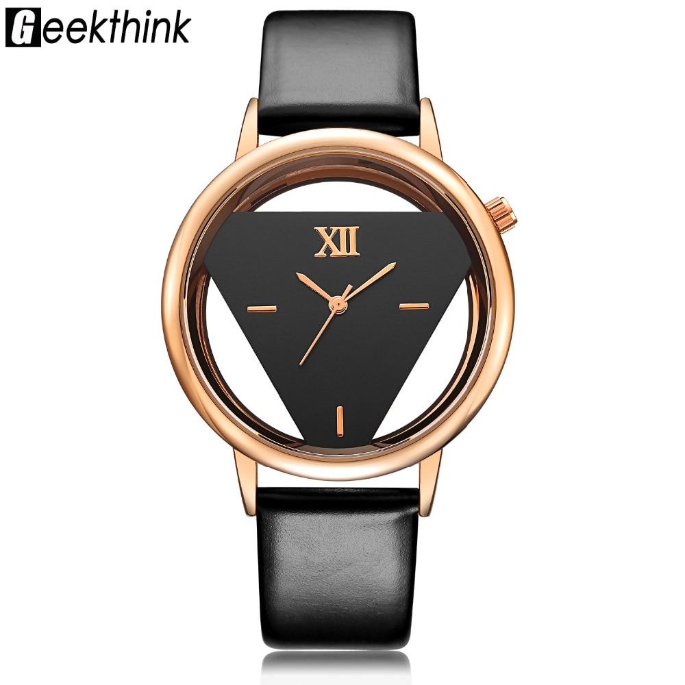 Berühmte Marke Hohl dreieck Serie Frauen Uhren Luxus Marke Damen Skeleton Uhr Mode Mädchen Armbanduhr Geschenk