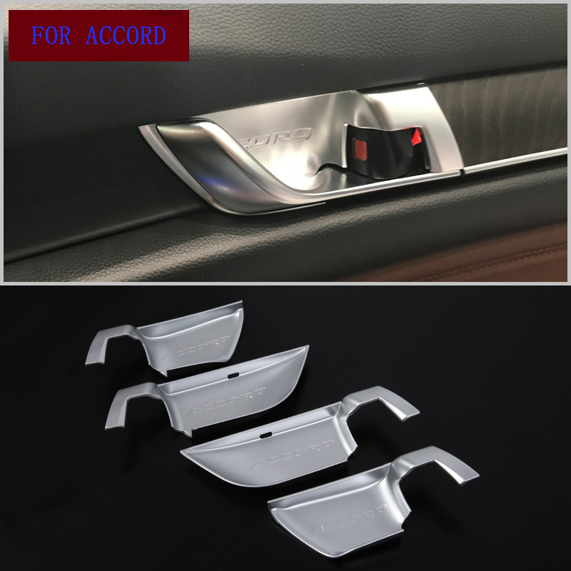 Carbon Fiber Style Inside Door Handle bowl Cover Trim Sticker Fit for <font><b>Honda</b></font> 10th <font><b>Accord</b></font> <font><b>2018</b></font> Car Interior <font><b>Accessories</b></font> Styling image