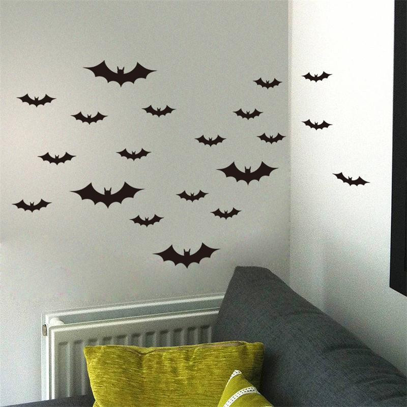 creative 20 pcs/pack black flying bats wall stickers for living room halloween party decor diy animal wall decals diy mural art-in Wall Stickers from Home ... & creative 20 pcs/pack black flying bats wall stickers for living room ...