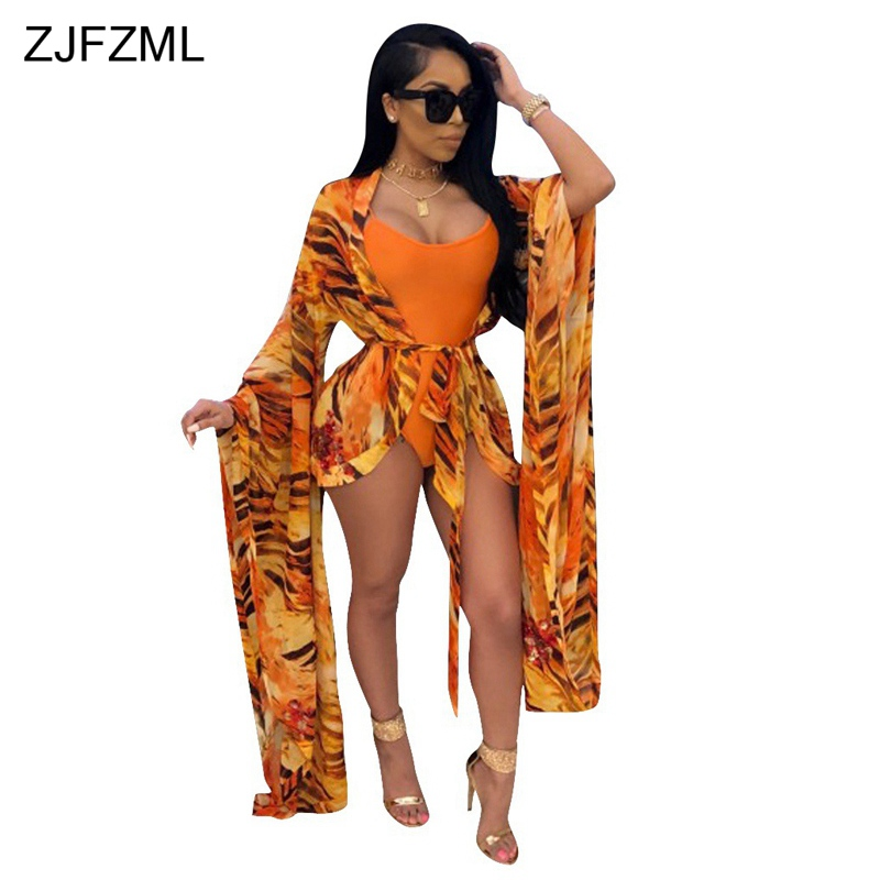 ZJFZML Orange Print Summer Two Piece Outfit Women Long Flare Sleeve Sash Cardigan And Sexy Deep V Neck Sleeveless Bodysuit