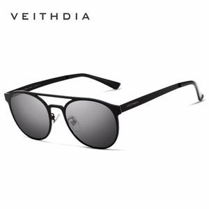 Image 4 - VEITHDIA Unisex Stainless Steel Sunglasses Polarized UV400 Mens Round Vintage Sun Glasses Male Eyewear Accessories For Men 3900
