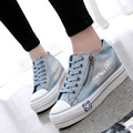 Height Increasing New 2016 Fashion High Platform Women Casual Shoes High Quality Denim Canvas Shoes Breathable For Ladies B214