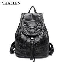 Women 2016 new casual double shoulder bag backpack schoolbag bag lady rivets female bag soft leather