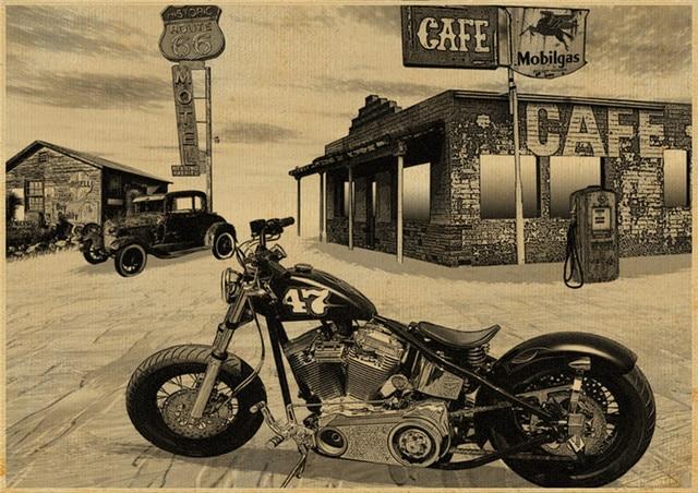usa route 66 vintage moto affiche kraft papier photo nostalgique r tro mur autocollant bar pub. Black Bedroom Furniture Sets. Home Design Ideas