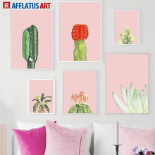 Pink Cactus Flower Plants Leaf Wall Art Print Canvas Painting Nordic Posters And Prints Watercolor Pictures For Living Room
