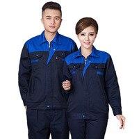 Erkek Kadın Çalışma giyim setleri Unisex Giysisi Takım Elbise Bahar Sonbahar Uzun Kollu Ceket + Pantolon Fabrika Tamir İşçileri Üniformaları
