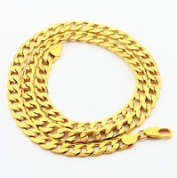 New Arrival Fashion 24K GP Gold Plated Necklace Mens Women Yellow Gold Golden Jewelry Necklace Free