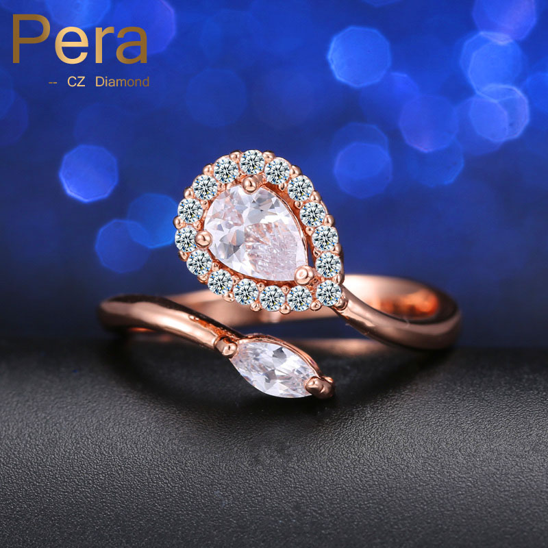 Fashion Design Rose Gold Color Jewelry Double Cubic Zirconia Crystal Women Engagement Party Finger Ring For Christmas Gift R032
